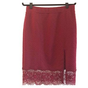 Free people slit leg skirt in wine color